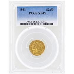 1911 $2 1/2 Indian Head Quarter Eagle Gold Coin PCGS XF45