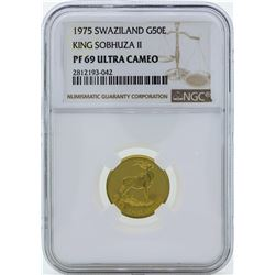 1975 Swaziland 50 Emalangeni Proof Gold Coin NGC PF69 Ultra Cameo
