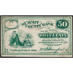 1862 Fifty Cents Summit County Bank Obsolete Note