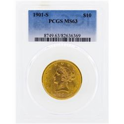 1901-S $10 Liberty Head Eagle Gold Coin PCGS MS63