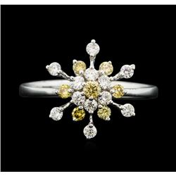 18KT White Gold 0.56ctw Yellow and White Diamond Ring