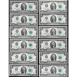 District Set of (12) 1976 $2 Federal Reserve Notes