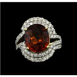 14KT Yellow Gold 7.50ct Malaya Garnet and Diamond Ring