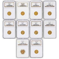 Lot of (10) $2 1/2 Indian Head Quarter Eagle Gold Coins NGC MS61