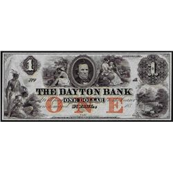 1850's $1 The Dayton Bank Obsolete Bank Note