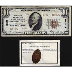 Set of 1929 $10 Poughkeepsie National Note & 1909 Poughkeepsie, NY Fireman Cent