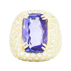18KT Yellow Gold 9.83ct Tanzanite and Diamond Ring