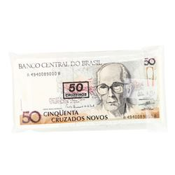 Pack of (100) Brazil 50 Cinquenta Cruzados Novos Uncirculated Notes