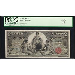1896 $2 Educational Silver Certificate Note Fr.248 PCGS Very Fine 20