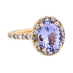 14KT Rose Gold 3.51ct Tanzanite and Diamond Ring