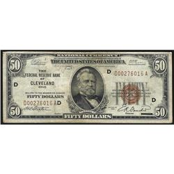 1929 $50 The Federal Reserve Bank of Cleveland National Currency Note