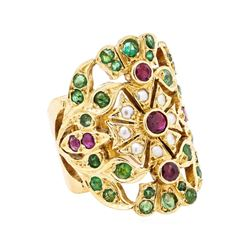 18KT Yellow Gold Emerald, Ruby and Pearl Ring