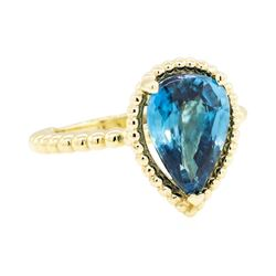 14KT Yellow Gold 3.40ct Blue Zircon Ring