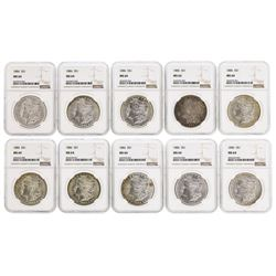 Lot of (10) 1886 $1 Morgan Silver Dollar Coins NGC MS64