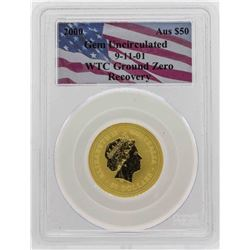 WTC Ground Zero Recovery 2000 $50 Australia 1/2 oz. Gold Nugget Coin PCGS Gem Un