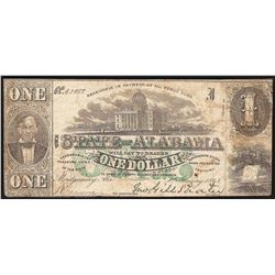 1863 $1 The State of Alabama Obsolete Bank Note