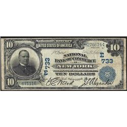 1902 $10 National Bank of Commerce New York National Currency Note CH# 733