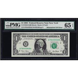 2001 $1 Federal Reserve Note Mismatched Serial Number ERROR PMG Gem Unc. 65EPQ