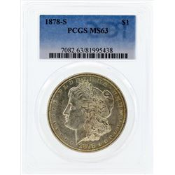 1878-S $1 Morgan Silver Dollar Coin PCGS MS63