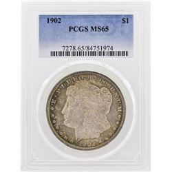 1902 $1 Morgan Silver Dollar Coin PCGS MS65