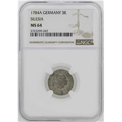 1784-A Germany Silesia 3 Krezuer Coin NGC MS64