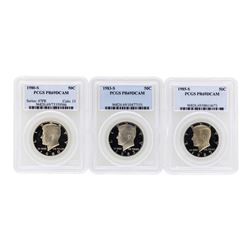 Lot of (3) Assorted Kennedy Half Dollar Coins PCGS PR69DCAM