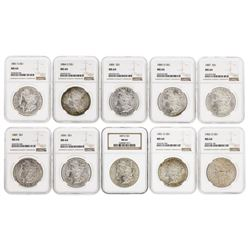 Lot of (10) Assorted $1 Morgan Silver Dollar Coins NGC MS64