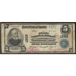 1902 $5 National Bank of Bloomington Indiana Note CH# 1888