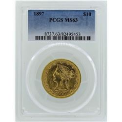 1897 $10 Liberty Head Eagle Gold Coin PCGS MS63