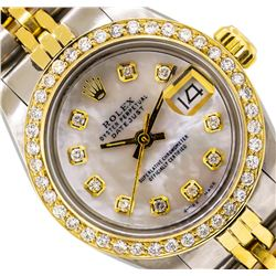 Ladies Two-Tone Rolex Datejust Watch with Diamond Bezel & Dial