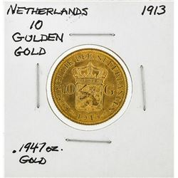 1913 Netherlands 10 Goulden Gold Coin