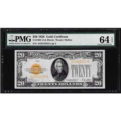 1928 $20 Gold Certificate Note Fr.2402 PMG Choice Uncirculated 64EPQ