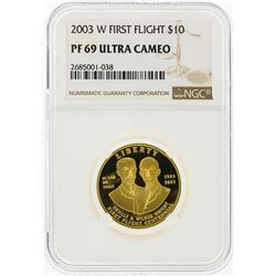 2003-W $10 First Flight Gold Coin NGC Graded PF69 Ultra Cameo