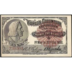 1893 World's Columbian Exposition Ticket