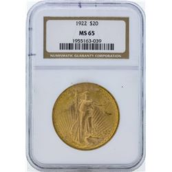 1922 $20 St. Gaudens Double Eagle Gold Coin NGC MS65