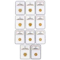 Lot of (11) $2 1/2 Indian Head Quarter Eagle Gold Coins NGC MS61
