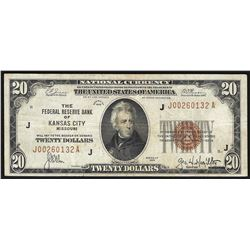 1929 $20 Federal Reserve Bank Note Kansas City