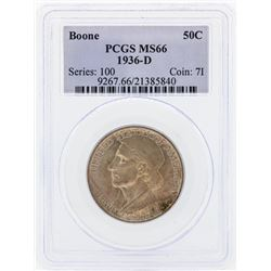 1936-D Boone Commemorative Half Dollar Coin PCGS MS66