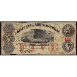 1857 $5 The State Bank of South Carolina Obsolete Note