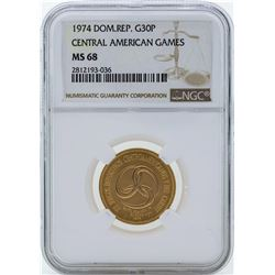 1974 Dominican Republic 30 Pesos Central American Games Gold Coin NGC MS68