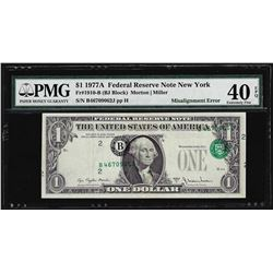 1977A $1 Federal Reserve Note Misalignment ERROR PMG Extremely Fine 40EPQ