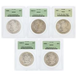 Set of (5) $1 Morgan Silver Dollar Coins PCGS MS63 Green Holders