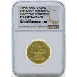 1975FM $100 Cook Islands Captain Cooks Return Gold Coin NGC PF69 Ultra Cameo
