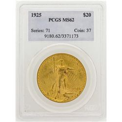 1925 $20 Saint Gaudens Double Eagle Gold Coin PCGS MS62