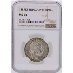 1887KB Hungary Forint Coin NGC MS64