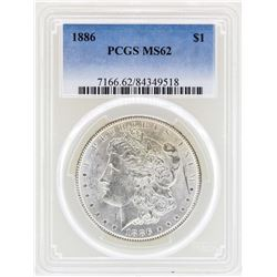 1886 $1 Morgan Silver Dollar Coin PCGS MS62