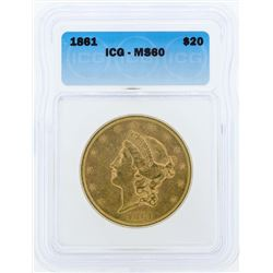 1861 $20 Liberty Head Double Eagle Gold Coin ICG MS60