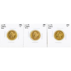 Lot of (3) S Mint $5 Liberty Head Half Eagle Gold Coins