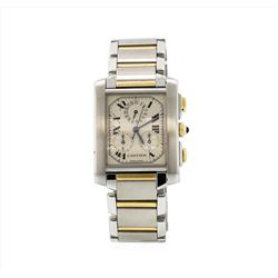 Cartier Tank Francaise Chronograph Quartz 18KT Two Tone Gold Mens Wristwatch