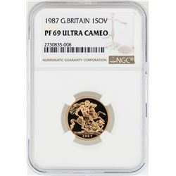 1987 Great Britain Sovereign Gold Coin NGC PF69 Ultra Cameo